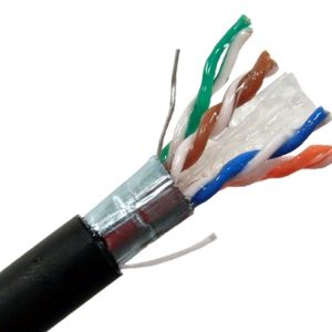 Outdoor CAT 6A Shielded Burial with Gel, Black Sheath - Exposed Wires, Spline, Gel & Shield