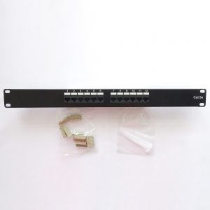 CAT 5E 12-Port Patch Panel Rackmount - Front View with Accessories