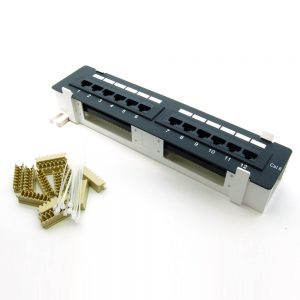CAT 6 12-Port Patch Panel - Bottom View with Accessories