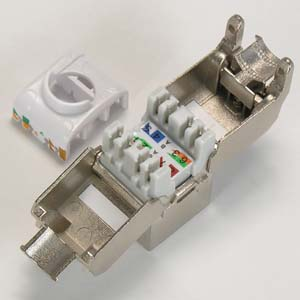 CAT 6A Keystone Jack RJ45 100 - 180 Degrees Shielded - 10G - Open Top View