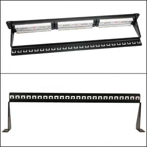 19 inch 1U Support Bar Black - Double View