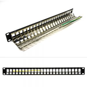 1U 24-Port CAT 5E/6/6A STP Blank Patch Panel