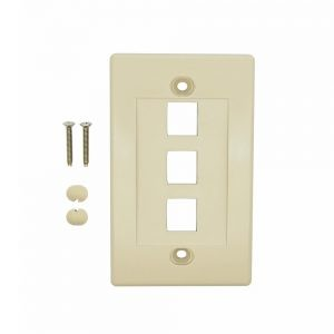 Ivory - 3 Port Keystone Wall Plate Decora Type - Front View with Components