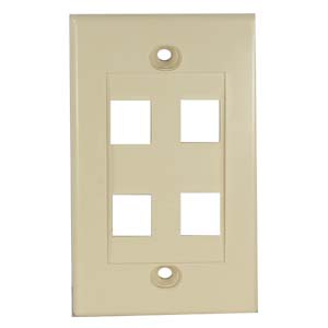 Ivory - 4 Port Keystone Wall Plate Decora Type - Front View