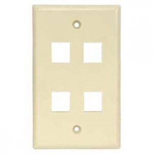 Ivory - 4 Port Wall Plate Smooth Face