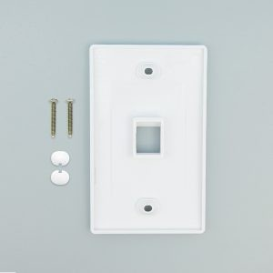 White - 1 Port Keystone Wall Plate Decora Type - Back View with Components