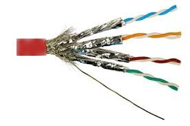 Red - CAT 7A Dual Shielded Indoor Patch Cable - Exposed Wires and Shielding