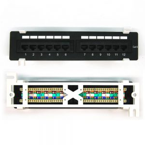 CAT 6 12-Port Patch Panel - Front & Back View