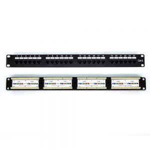 CAT 6 24-Port Patch Panel Rackmount - Front & Back View