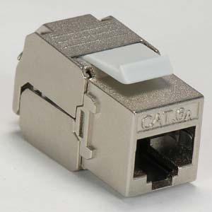 CAT 6A Keystone Jack RJ45 100 - 180 Degrees Shielded - 10G - Front View