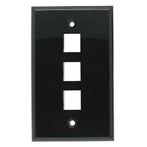 Black - 3 Port Wall Plate Smooth Face