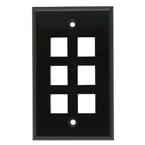 Black - 6 Port Wall Plate Smooth Face