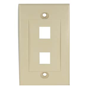 Ivory - 2 Port Keystone Wall Plate Decora Type - Front View