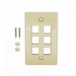 Ivory - 6 Port Keystone Wall Plate Decora Type - Front View with Components