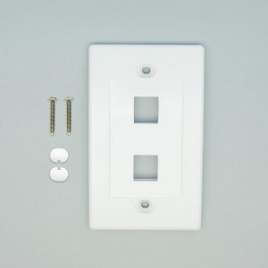 White - 2 Port Keystone Wall Plate Decora Type - Front View with Components