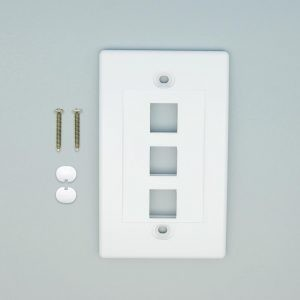 White - 3 Port Keystone Wall Plate Decora Type - Front View with Components
