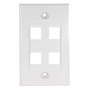 White - 4 Port Keystone Wall Plate Decora Type - Front View
