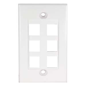 White - 6 Port Keystone Wall Plate Decora Type - Front View